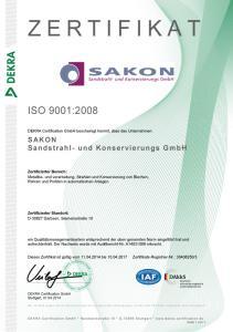 Sakon Sandstrahlen Zertifikat ISO 9001 2008 DE