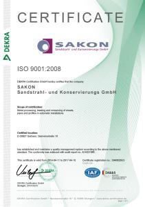 Sakon Sandstrahlen Zertifikat ISO 9001 2008 EN