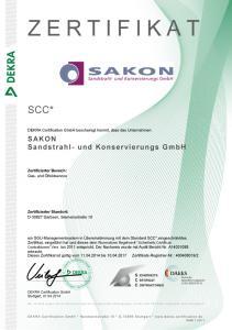 Sakon Sandstrahlen Zertifikat SCC 2011 DE